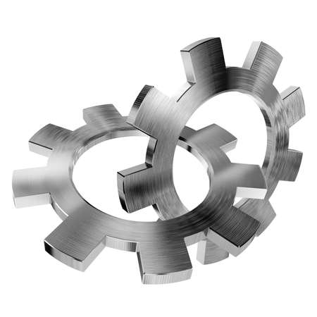 stagnation: 3d shiny gears on white background Stock Photo