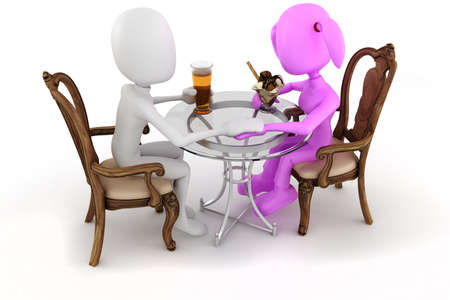 dinning table: 3d man couple restaurant dinner