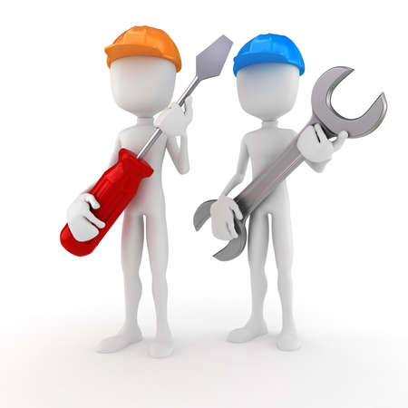 small business team: 3d man holding a screwdriver and a wrench