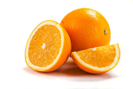 fresh oranges on white background photo