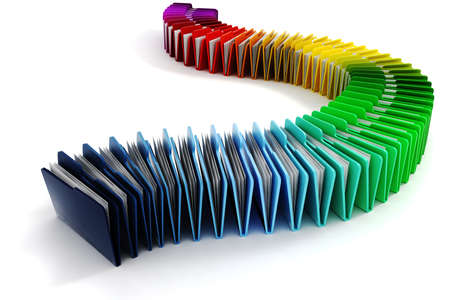 dossier: 3d colorful folders on white background