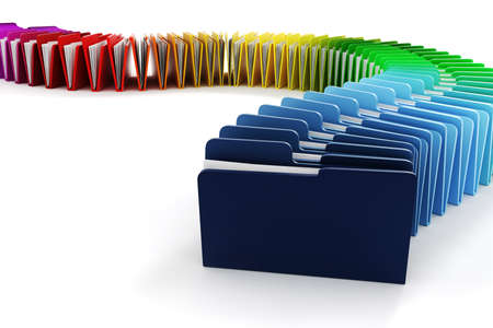 organize: 3d colorful folders on white background