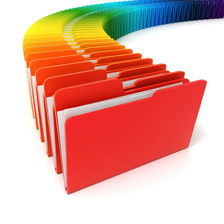 3d colorful folders on white background photo