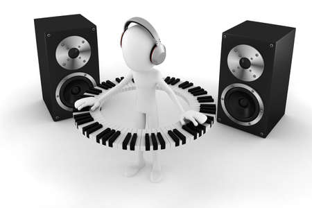 funky music: 3d man DJ Stock Photo