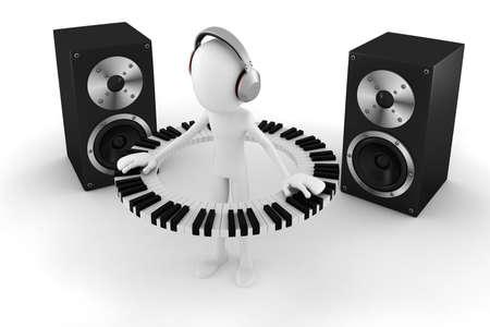 disk jockey: 3d man DJ Stock Photo