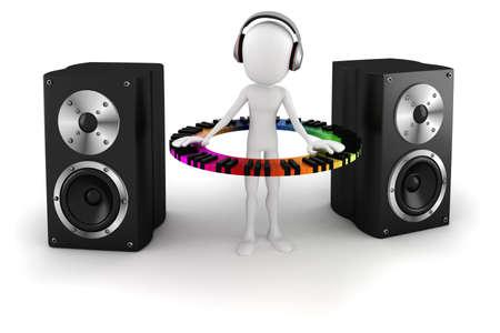funky music: 3d man DJ Stock Photo