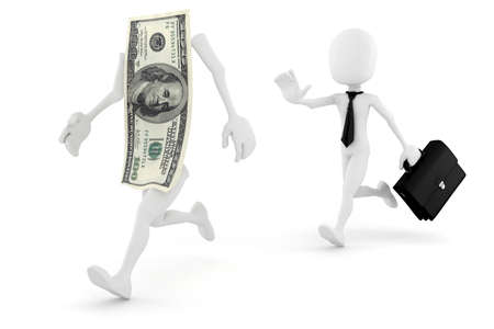 spending money: 3d man running for succes in business