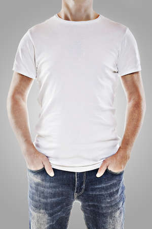 t shirt model: Young man wearing a blank white t-shirt Stock Photo