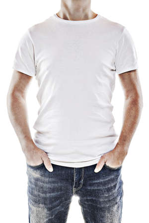 shirt template: Young man wearing a blank white t-shirt Stock Photo