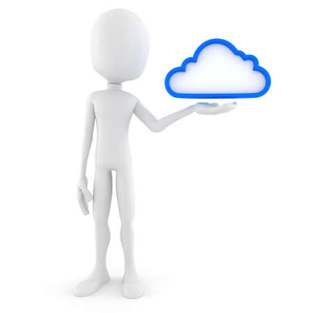 3d man, cloud backup solution, on white background photo