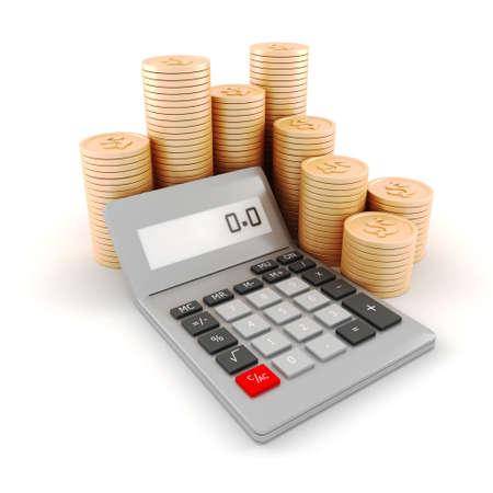 multiplicar: Calculadora de bolsillo 3d y monedas, sobre fondo blanco