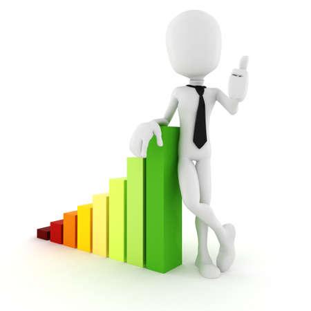 career up: 3d man businessman standing near a trend graph Stock Photo