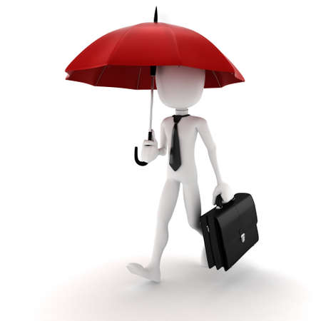 red umbrella: 3d man holding an umbrella, security in business concept