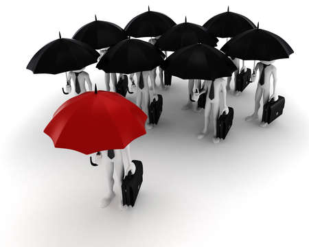 3d man holding an umbrella, security in business concept photo