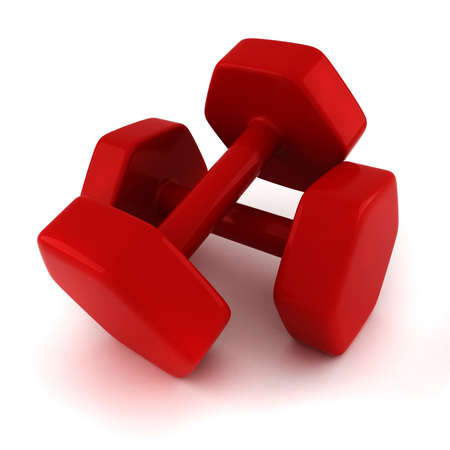 3d fitness weights on white background photo