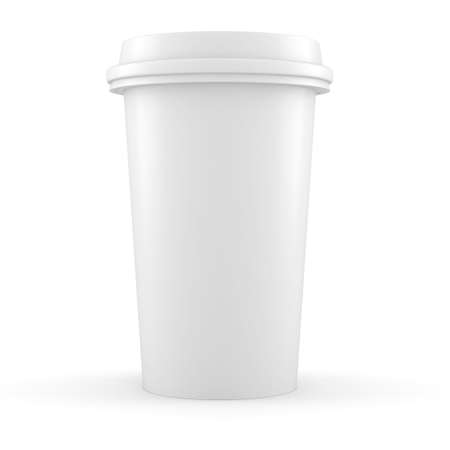 3d coffee paper cup on white background Stock Photo - 16811177