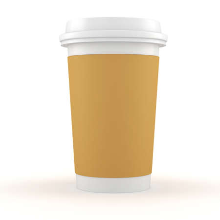 3d coffee paper cup on white background Stock Photo - 16811174