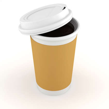 3d coffee paper cup on white background photo