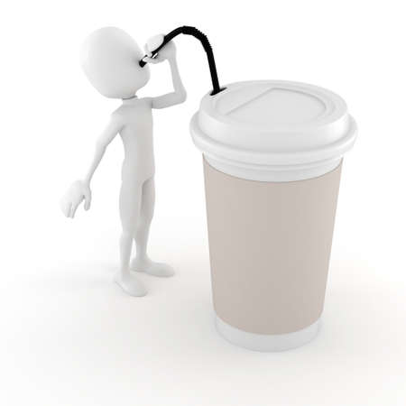 3d man drinking a hot coffee from a paper cup photo