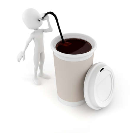 3d man drinking a hot coffee from a paper cup Stock Photo - 16811175