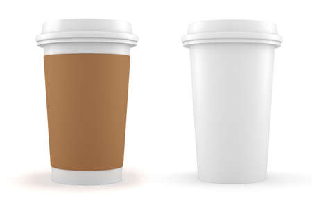 3d coffee paper cup on white background Stock Photo - 16811172