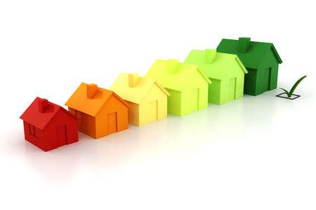 eficiencia energetica: 3d casa verde concepto de energ�a Foto de archivo