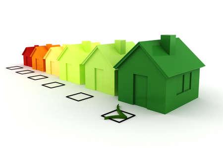 eficiencia: 3d casa verde concepto de energ�a Foto de archivo