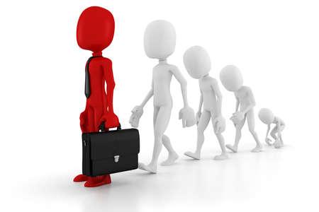 idea generation: 3d man evolution in business Stock Photo