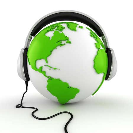 listening music: 3d online call center concept