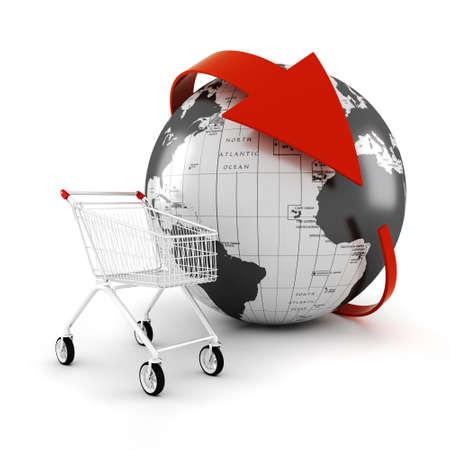 3d shopping cart, online commerce concept Stock Photo - 17204977