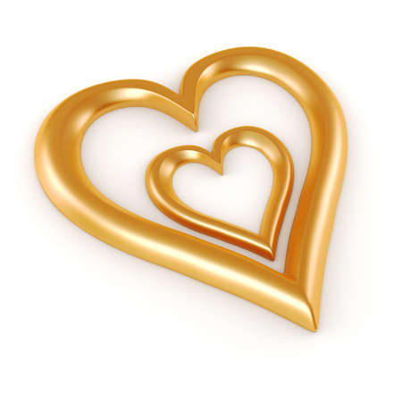 3d heart shape on white background Stock Photo - 17223499