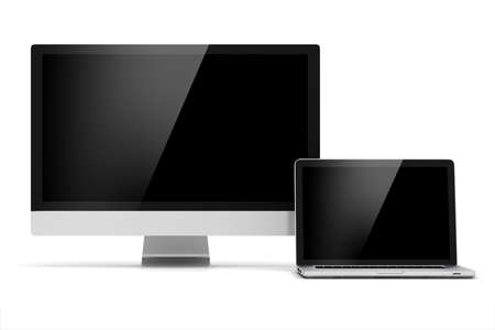3d display monitor and laptop on white background photo