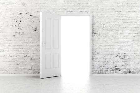 old door: 3d open door in a white vintage brick wall