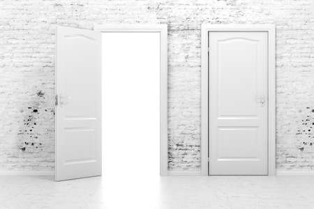 3d doors in a white vintage brick wall  photo