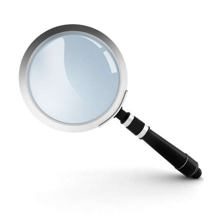 3d magnifying glass on white background photo