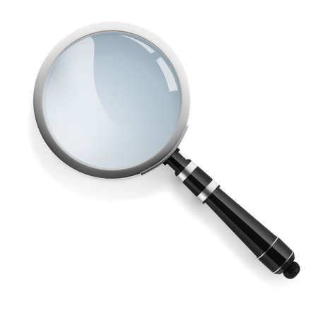investigate: 3d magnifying glass on white background