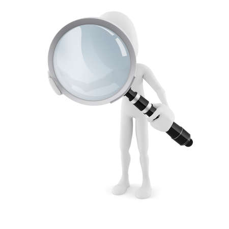 3d man with a big magnifying glass, on white background Stock Photo