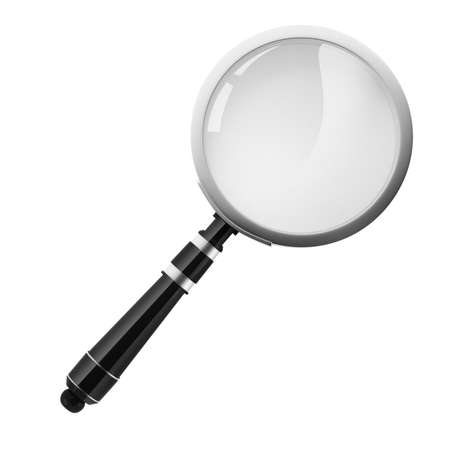 3d magnifying glass on white background, no shadows