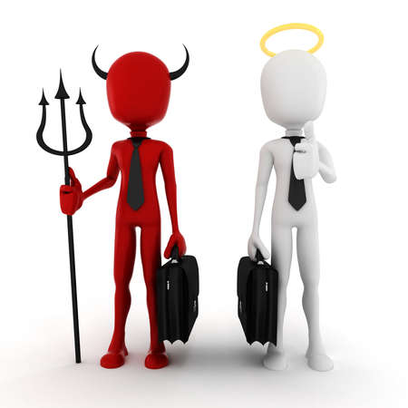 3d man businessman angel and demon photo