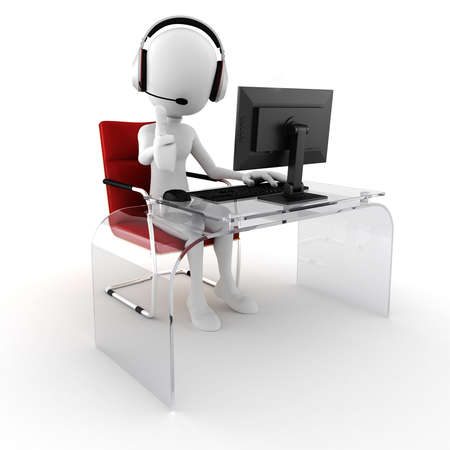 call center office: 3d man call center ready to help Stock Photo