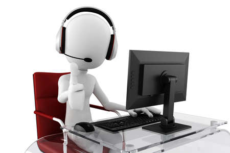operators: 3d man call center ready to help Stock Photo