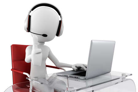 support center: 3d man call center ready to help Stock Photo
