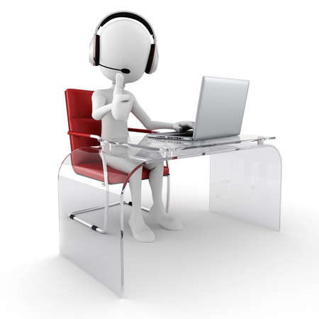 3d man call center ready to help Stock Photo - 17475357