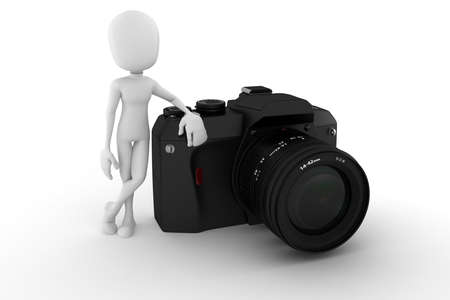 3d man photographer, on white background photo