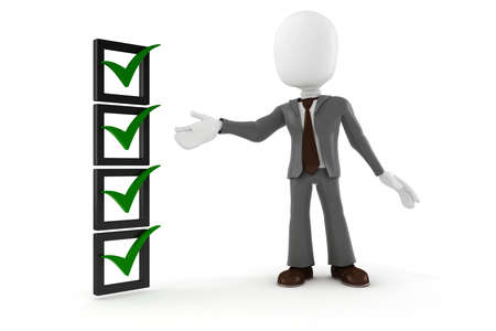 cheque en blanco: Hombre 3d hombre de negocios y la lista de verificación, sobre fondo blanco