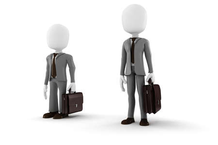 tall and short: 3d man tall and short businessman