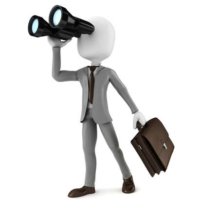3d man businessman holding a binocular searching for opportunities in business Stock Photo