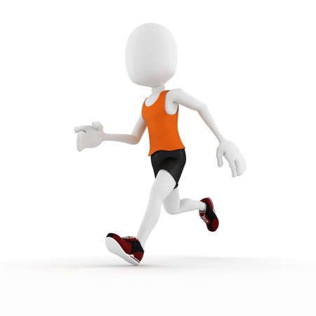 running track: 3d man athlete competition, on white background