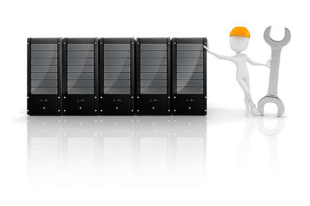 3d man and server, hardware mentenance Stock Photo - 17675970