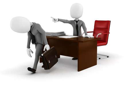 dismissal: 3d man businessman -FIRED! Stock Photo